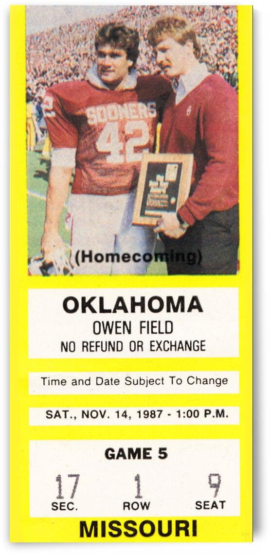 1987 Oklahoma Sooners vs. Missouri Tigers | Row 1 by Row One Brand