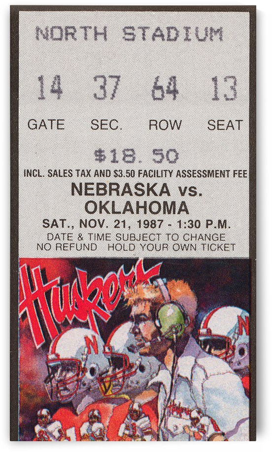 1987 Oklahoma Sooners vs. Nebraska Cornhuskers | Row 1 by Row One Brand