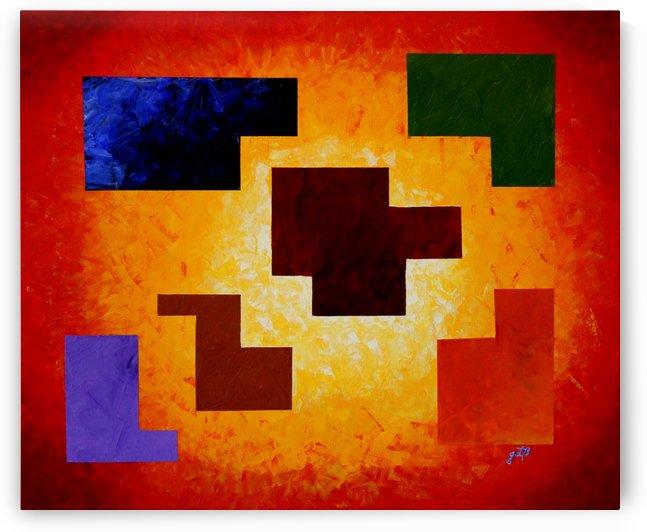 Life Magic Puzzle Geometrical Palette Knife Painting by Georgeta Blanaru