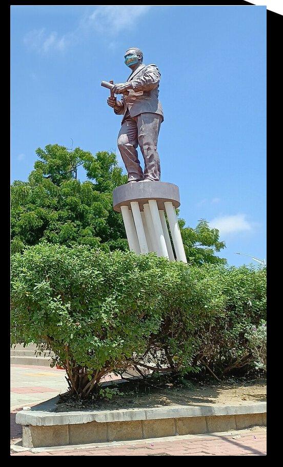 Statue Joe Arroyo Park in Barranquilla Colombia by bantooart