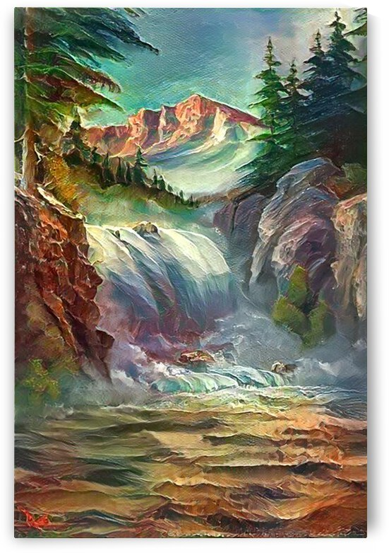 Glacier Waterfall  by Angela Cooper Hanley
