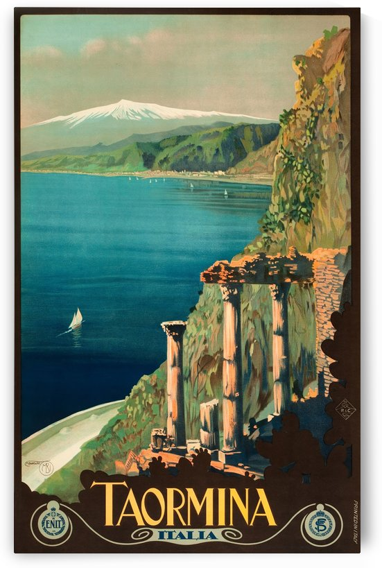 Taormina, Sicily, Italy Travel Poster by VINTAGE POSTER