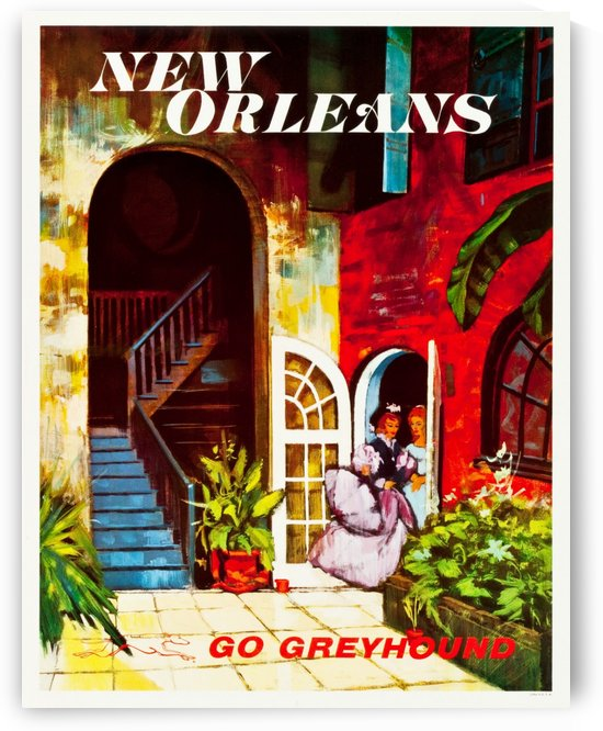 New Orleans, Greyhound Bus Travel Poster by VINTAGE POSTER