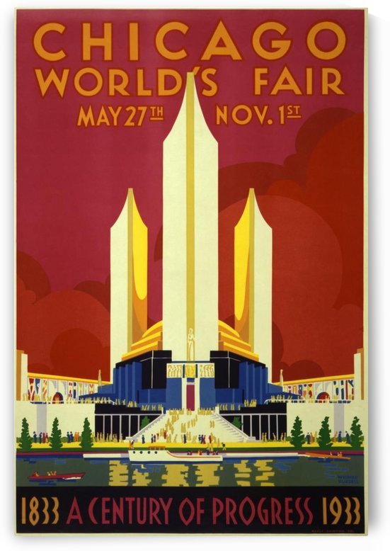 A vintage travel poster promoting the 1933 World Fair in Chicago by VINTAGE POSTER