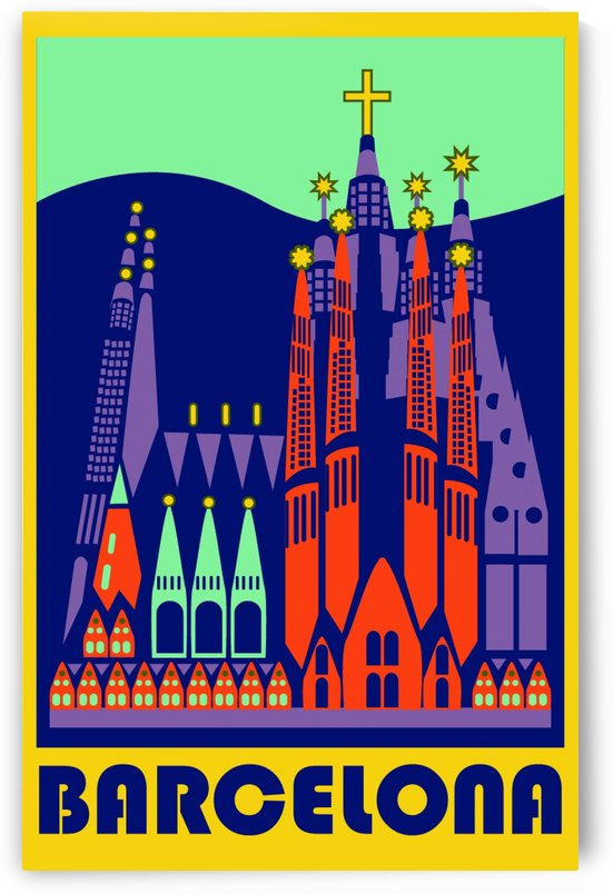 Barcelona travel poster by VINTAGE POSTER