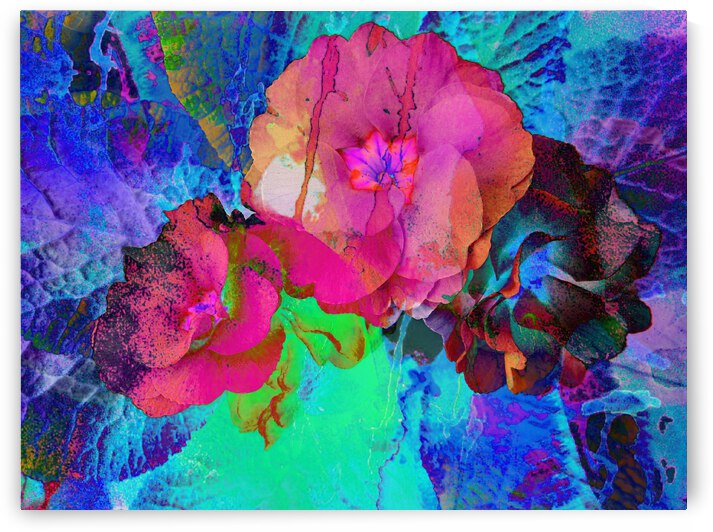 Red and Blue Floral Abstract by Dorothy Berry-Lound