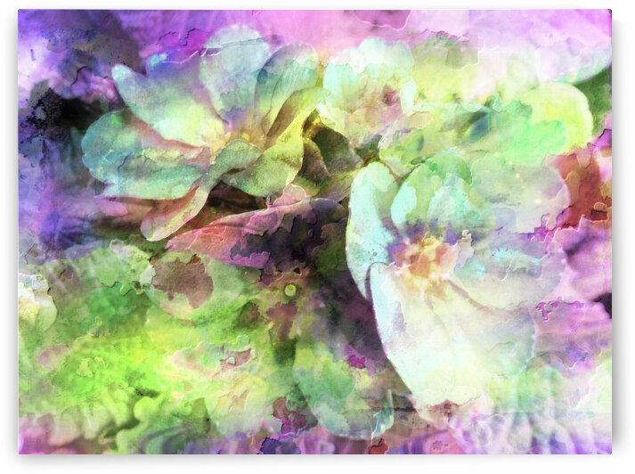 Pink and Green Floral Abstract by Dorothy Berry-Lound