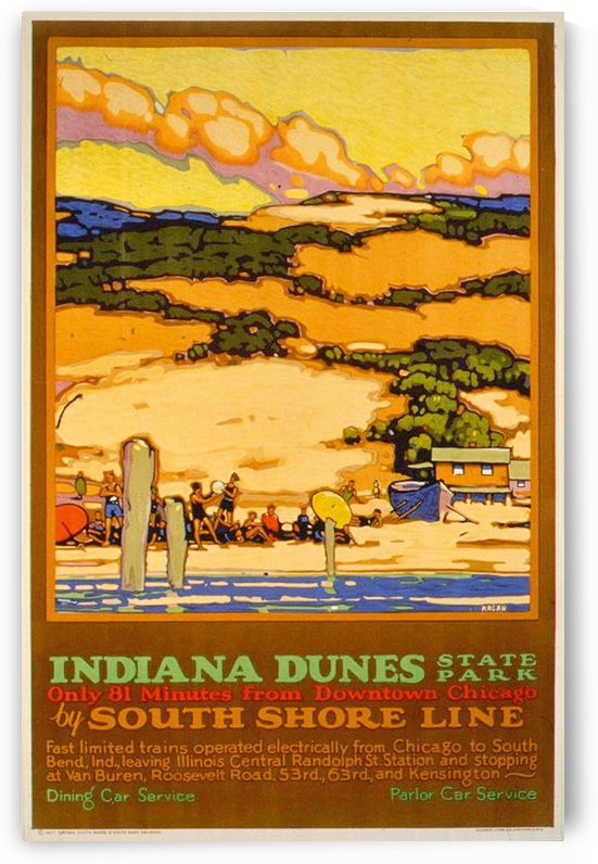 1927 Indiana Dunes poster by Leslie Ragan by VINTAGE POSTER