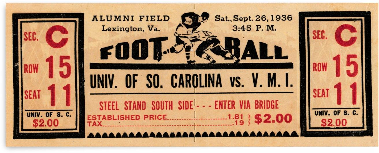 1936 South Carolina Gamecocks vs. VMI Keydets  by Row One Brand