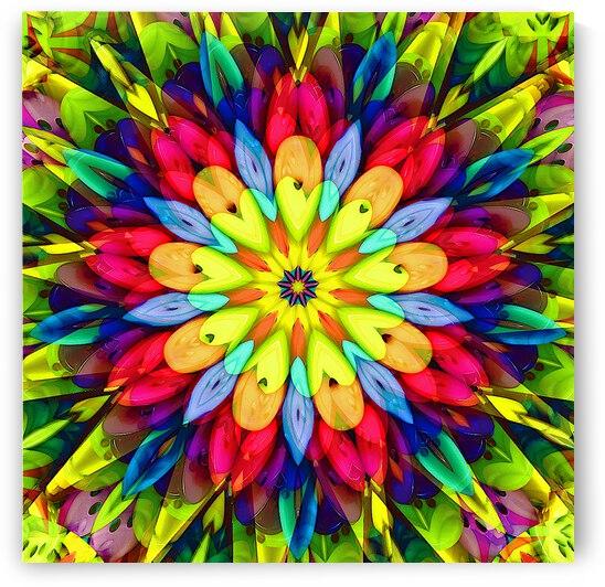 Yellow Sunburst Kaleidoscope  by Angela Cooper Hanley