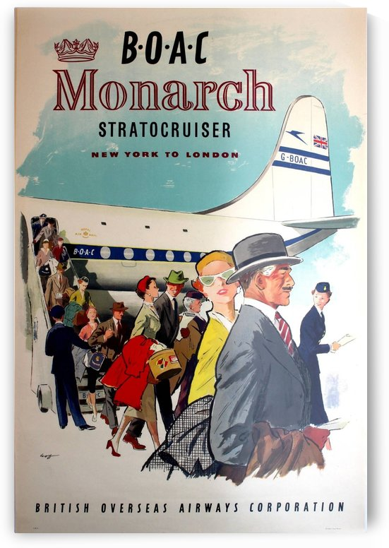 BOAC Monarch Stratocruiser New York - London Original Travel Advertising Poster by VINTAGE POSTER
