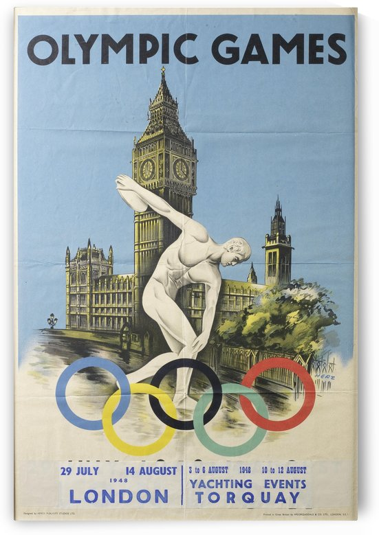 Olympic Games London 1948 Official Poster by VINTAGE POSTER