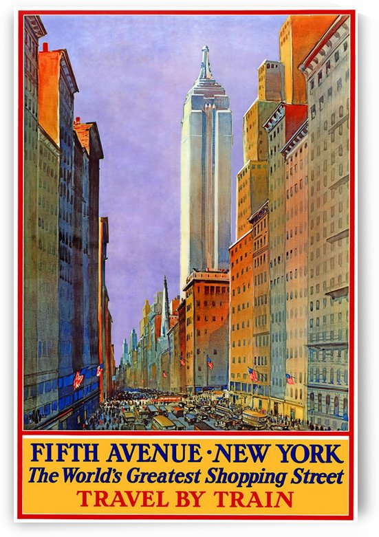 Fifth Avenue New York World Greatest Shopping Street travel poster by VINTAGE POSTER