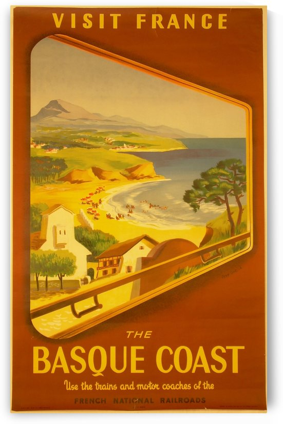 Visit the Basque Coast in France travel poster by VINTAGE POSTER