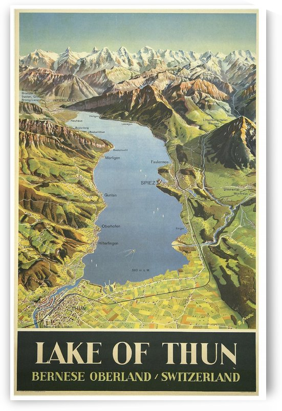 Lake of Thun Bernese Oberland Switzerland Max Bieder Vintage Travel Poster 1946 by VINTAGE POSTER