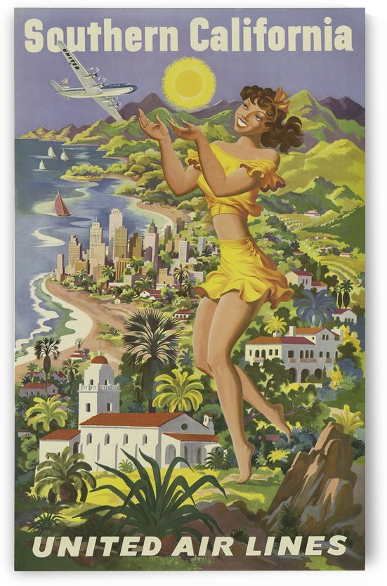 Southern California United Air Lines travel poster by VINTAGE POSTER