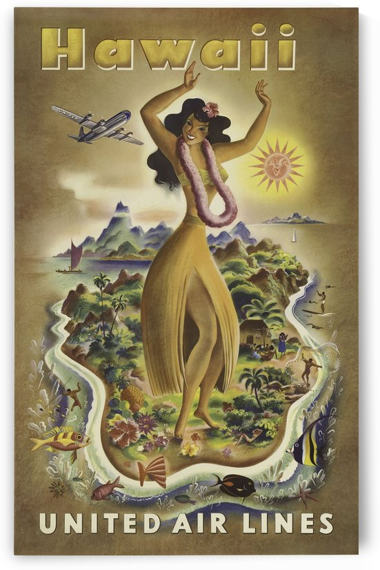 United Air Lines Hawaii Classic Travel Poster by VINTAGE POSTER