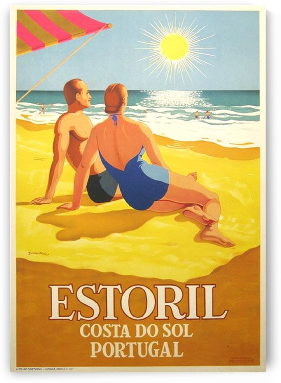 Portugal beach travel poster by VINTAGE POSTER