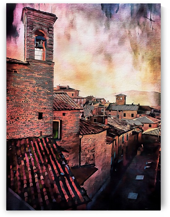 Bell Tower and Roof Tops at Sunset by Dorothy Berry-Lound