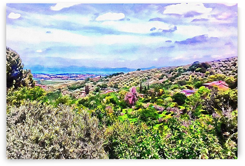 View To Lago Trasimeno from Paciano by Dorothy Berry-Lound