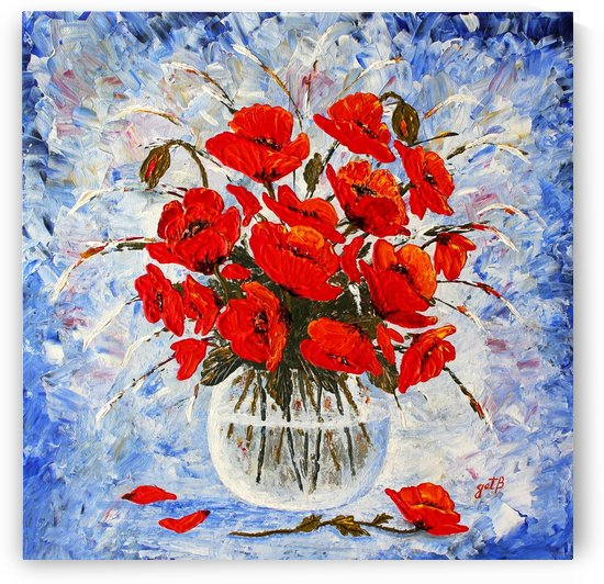 Morning Red Poppies original palette knife painting by Georgeta Blanaru