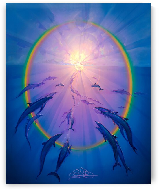 Rainbow Dolphins Into the Light by John Pitre