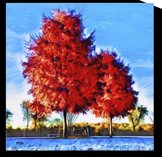 Mayfair Fall Trees-IMG 7467-Pastel style by Darrell L Foltz