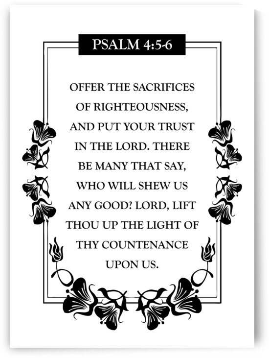 Psalm 4:5-6 Bible Verse Wall Art by ABConcepts