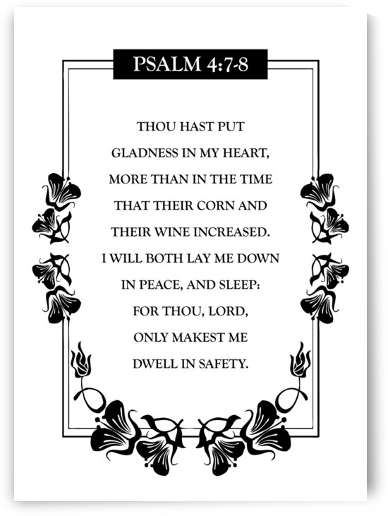 Psalm 4:7-8 Bible Verse Wall Art by ABConcepts
