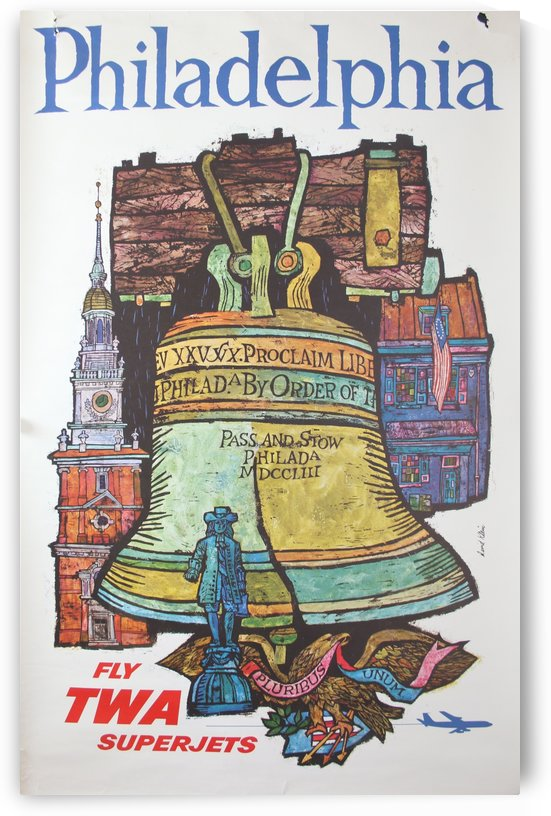 Fly TWA Superjets Philadelphia Travel Poster by VINTAGE POSTER