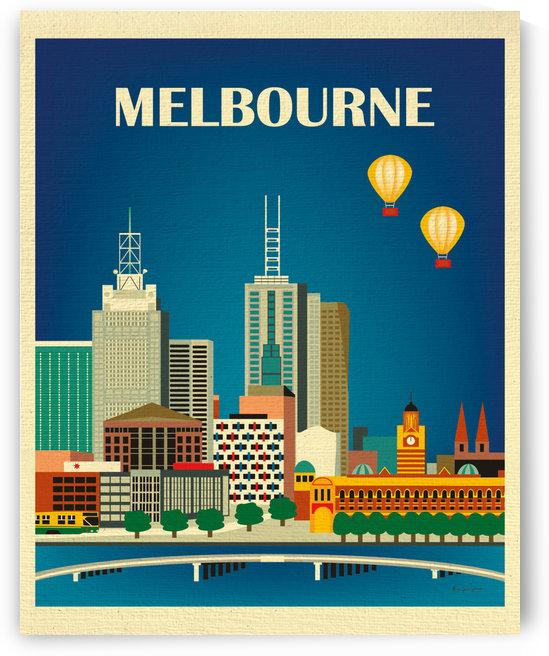 Melbourne Skyline Travel Poster by VINTAGE POSTER