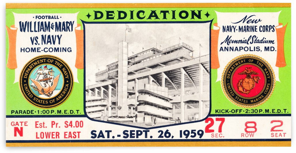 1959 William and Mary vs. Navy Stadium Dedication Game by Row One Brand