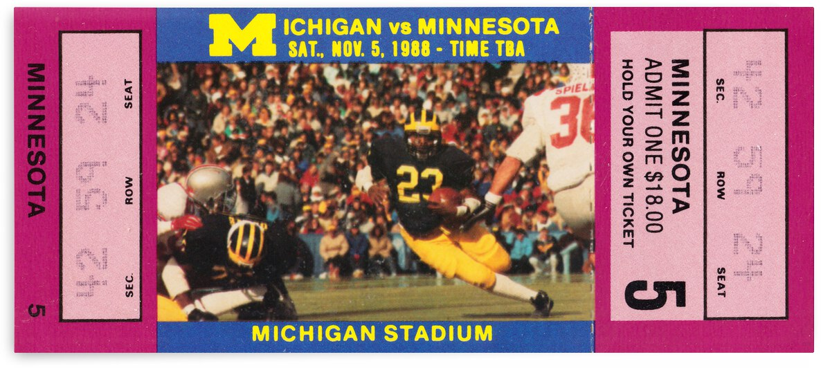 1988 Michigan Wolverines vs. Minnesota Golden Gophers by Row One Brand