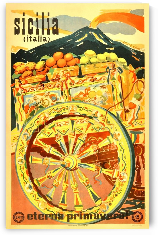 Sicilia Italia Original Vintage Travel Advertising Poster by VINTAGE POSTER