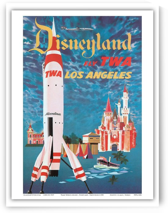 Fly TWA Dinseyland Los Angeles by VINTAGE POSTER