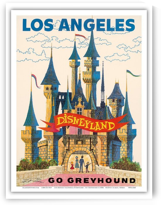 Los Angeles Disneyland Go Greyhound travel poster by VINTAGE POSTER