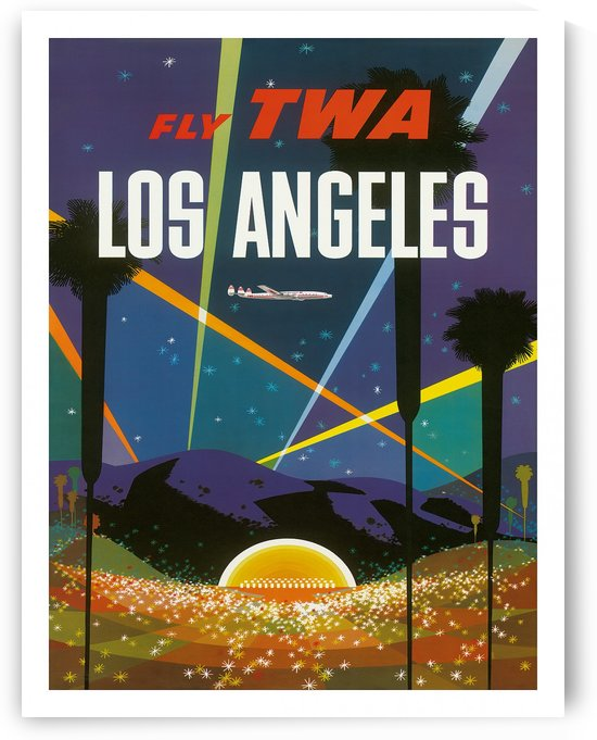 Fly TWA Los Angeles travel poster by VINTAGE POSTER