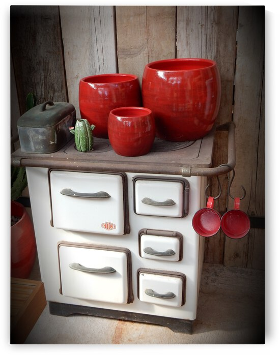 Old Stove With Red Pots by Dorothy Berry-Lound