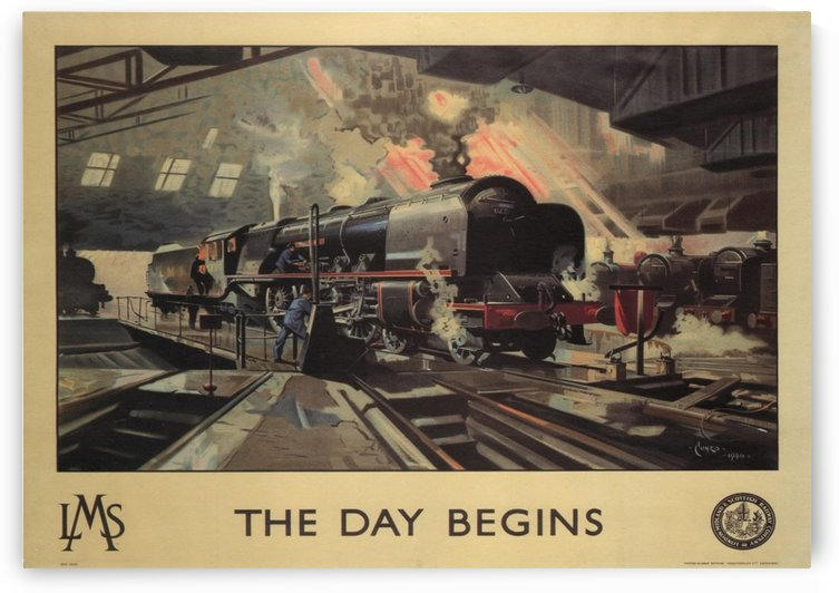 The day begins by LMS Railways 1946 Vintage Railway Travel Poster by VINTAGE POSTER