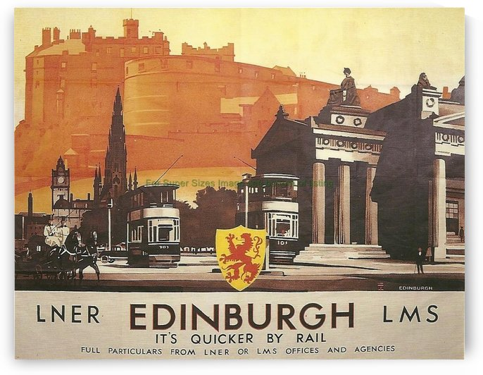 Vintage Travel Poster Edinburgh By Rail by VINTAGE POSTER