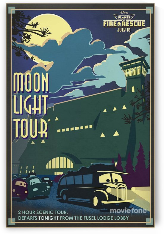 Vintage concept art poster for Moonlight Tours by VINTAGE POSTER