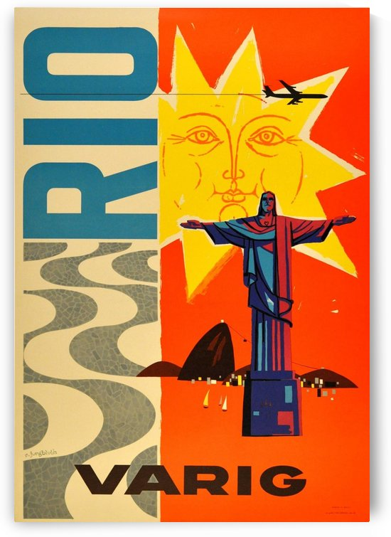 Rio Varig Original Vintage Travel Advertising Poster by VINTAGE POSTER