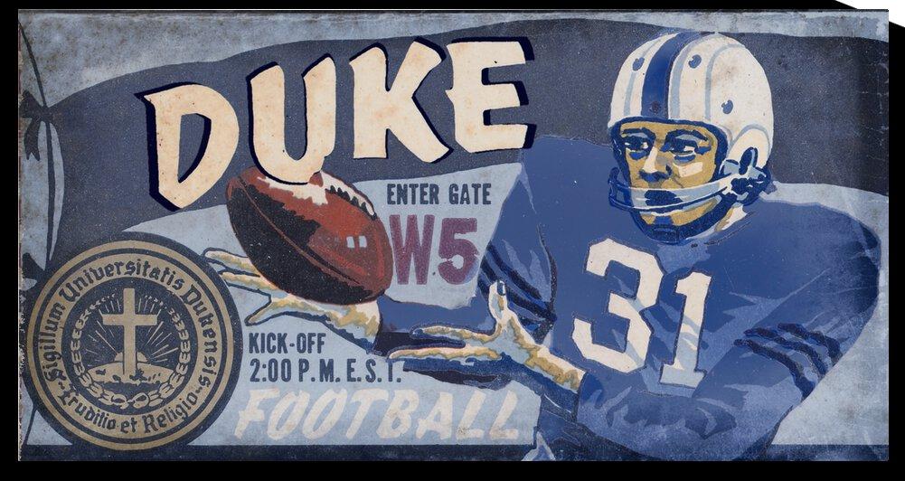 1957 Duke Football Ticket Stub Remix Art by Row One Brand
