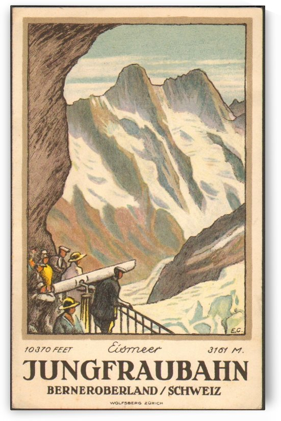 Jungfraubahn Berneroberland Swiss travel poster by VINTAGE POSTER