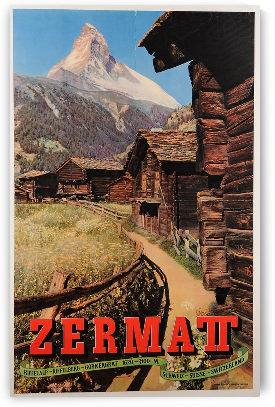 Original Vintage Swiss Travel Poster for the Zermatt Mountain Village in 1950 by VINTAGE POSTER