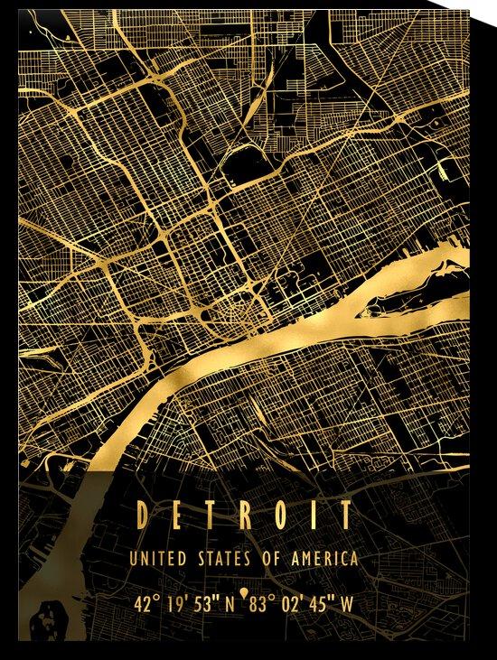 DETROIT MAP USA by Mapolis