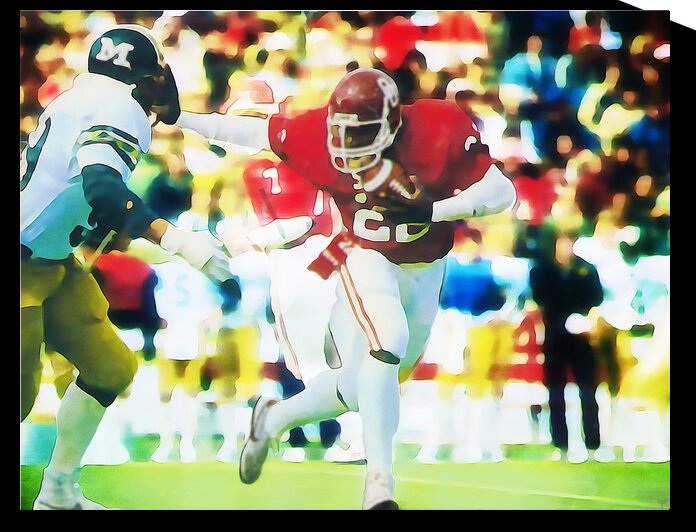 1982 Marcus Dupree Oklahoma Sooners Football Art by Row One Brand