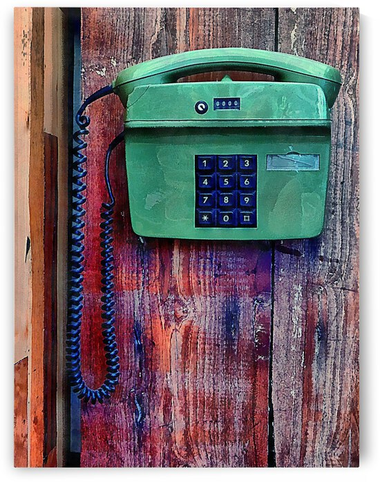 Old Push Button Telephone Against Wood Panelling by Dorothy Berry-Lound