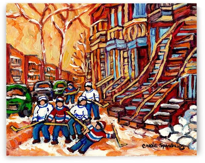 HOCKEY NEAR STAIRCASES MONTREAL ROSEMONT WINTER SCENE by Carole  Spandau