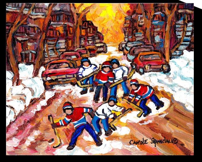 ROESMONT ROAD HOCKEY MONTREAL WINTER SCENE by Carole  Spandau